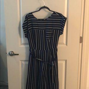 Striped Navy Blue Jumpsuit